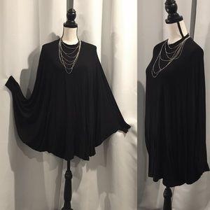 Poncho Style Tunic Top-Black